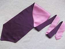 TWO TONE PURPLE PINK SILKY MENS SINGLE END SELF TIE CRAVAT FORMAL WEDDING GROOM