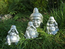BUDDHA HEAD AND SET OF 3 BUDDHA'S. LATEX MOULD/MOULDS/MOLDS