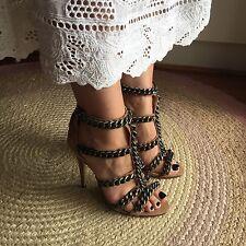 Siren Shoes Jennifer Hawkins Tan Suede Leather Chain Stiletto High Heels 8 39
