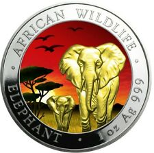 2015 1oz Silver Somalia African Elephant At Sunset 24k Gold Gilded Coin