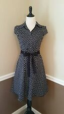 Modcloth Hepcat Soda Fountain Dress Black~White Dots L (Fits M) Rockabilly Pinup