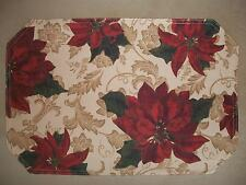 "Water Repellent Christmas Poinsettia & Holly Printed Placemat~12"" X 18"", NEW!!"