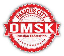 "Omsk City Russia Grunge Travel Stamp Car Bumper Sticker Decal 5"" x 4"""