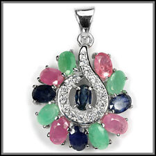 GENUINE SAPPHIRE RUBY EMERALD OVAL & WHITE CZ STERLING 925 SILVER PENDANT