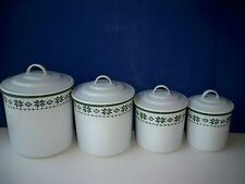 Vintage RALPH LAUREN Enamaled Canister Set of 4 Green & White