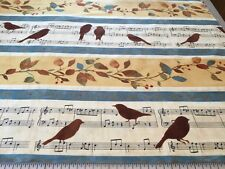 Wind Symphony Birds & Music Linear cotton Fabric per yard quilting sewing crafts