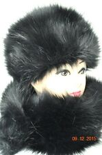 Fur Hat with Shawl Scarf BLACK Premium faux fur