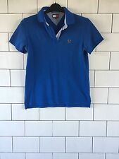 MENS VINTAGE RETRO TOMMY HILFIGER SHORT SLEEVE BLUE POLO TOP T SHIRT  #114