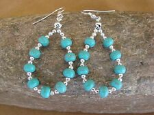 Native American Navajo Hand Beaded Turquoise Earrings - Jackie Cleveland