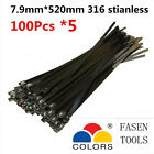 500PCS 7.9x520mm Stainless Steel Cable Zip Ties--Exhaust Wrap Coated Locking