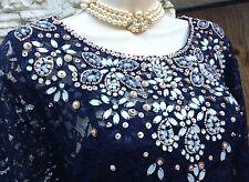 BNWT £ 249 opulento Monzón Edición Limitada * Cianita * embellecido Encaje Vestido SZ 18