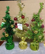 "Lot of 3 Tinsel Tree's 3 different color's see pics below approx 16"" T (Lot 111)"