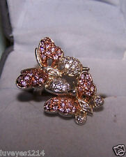 QVC Rose Gold vermeil sterling silver 925 accent pink clear pave Butterfly ring