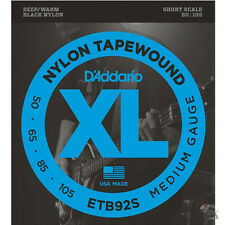 D'Addario ETB92S Nylon Tapewound Medium Gauge Bass Strings 50-105 Short Scale