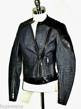 GUCCI LEATHER AND DENIM MOTO MOTORCYCLE BIKER JACKET NWT ITALIAN SIZE 38