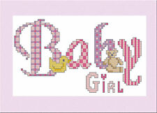 BABY GIRL - CROSS STITCH CARD KIT - WITH CHARM