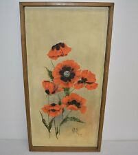 "1977 Original Mid Century Floral Oil Painting Signed G. Ernst 37 3/4""x19 1/2"""