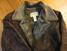 EUC Eddie Bauer Womens Small Faux Fur Suede Leather Jacket Coat