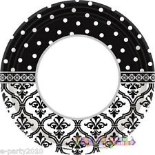 ENGAGEMENT PARTY Damask and Dots LARGE PAPER PLATES (18) ~ Wedding Party Supply