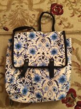 New Blue Floral Birds Fabric Backpack Bag Adjustable Straps Abercrombie & Fitch