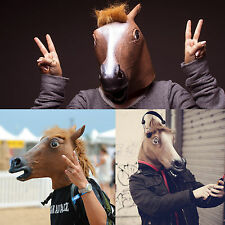 Horse Head Mask Latex Prop Animal Cosplay Costume Rubber Party Halloween