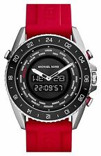 **NEW* MENS MICHAEL KORS RED DIGITAL RUBBER JETMASTER WATCH MK8402 -RRP£229
