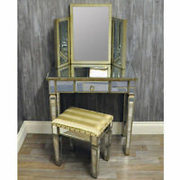 Antique Vintage Venetian Style Mirrored Glass Dressing Table with Stool
