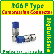 10 x RG6 F Type Compression Connector Coax FTA Pay Tv Satellite Free Postage