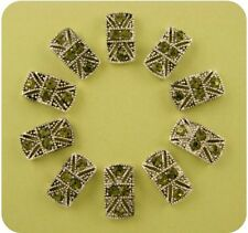 Beads Marcasite Tablets w/Olivine Swarovski Crystal Elements 2 Hole Sliders 10pc