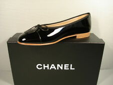 "CHANEL black patent leather ballerina flats cap round toe ""CC"" 40/9.5 NEW shoes"