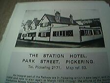 book item - 1970s - 1 page - the station hotel park street pickering
