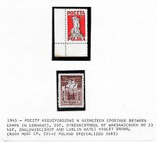 Poland stamps 1945 Poczty Miedzyobozowe W Niemczech stamps  UNG(as issued)