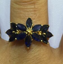 14k Solid Yellow Gold Cluster Ring 3.03With Natural Sapphire Marquise Cut Size 8