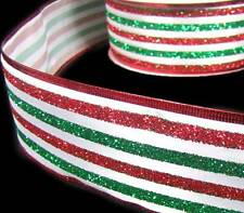 5 Yds Christmas Red Green Glitter Stripe Striped Wired Ribbon 2 1/2""