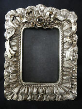 Photo Picture Frame Soft Silvery Gold Ruffled Lace Roses Ribbons