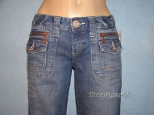 NEW Aeropostale Dark Vintage Hailey Skinny Flare Blue Jeans with Zippers 1 / 2 S