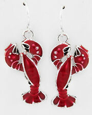 COASTAL BOUTIQUE- Silver and Red LOBSTER earrings NWT Hypo fish hook 1456