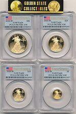 2010 W $50,$25,$10,$5 PROOF GOLD EAGLE SET PCGS PR70 DCAM FIRST STRIKE FLAG RARE