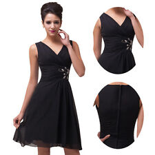 Black Short Chiffon Bridesmaid Graduation Party Cocktail Evening Prom Dress Gown