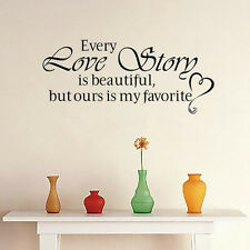 Every Love Story is Beautiful Decor Vinyl Wall Home Room Decal Quote Sticker