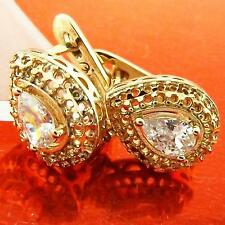 AN983 GENUINE REAL 18K YELLOW G/F GOLD DIAMOND SIMULATED WEDDING STYLE EARRINGS
