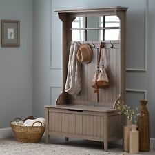 Taupe Grey Entryway Full Hall Tree Coat Rack Stand Home Furniture Storage Bench