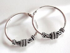 Bali 19mm Rope Style Accented Hoop Earrings 925 Sterling Silver Corona Sun n86a