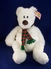 "Gund Heads & Tales White Teddy Bear w/Scarf Winter Holiday 24"" Plush WITH TAGS!"