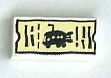 LEGO 3830 - Spongebob - Tile 1 x 2 (SpongeBob Bus Ticket) Pattern - White