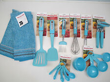 KitchenAid set of 17 aqua/turquoise/blue kitchen utensils