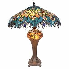 TF10015 - Art Nouveau Peacock Tiffany Style Stained Glass Table Lamp