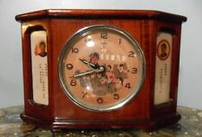VINTAGE KOREAN WOODEN MANTLE CLOCK~CHIMES~SECOND HAND JET~SALUTE~WINDER~RARE!