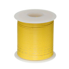 """22 AWG Gauge Stranded Hook Up Wire Yellow 25 ft 0.0253"""" PTFE 600 Volts"""