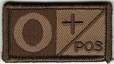 Desert Brown / Tan Military Blood Type O+ Positive Hook Fastener Patch